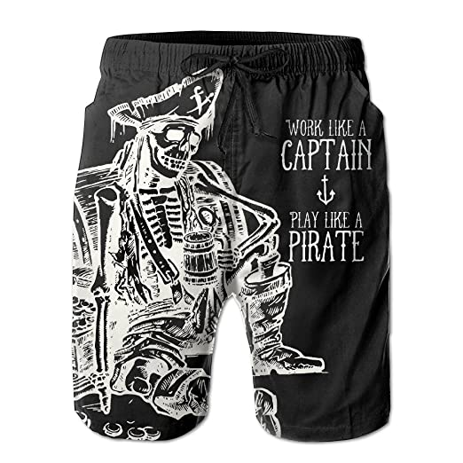 b07dba6e04 Amazon.com: SMSMILE Mens Skeleton Pirate Holding Beer Funny Summer  Breathable Quick-drying Swim Trunks Beach Shorts Board Shorts: Clothing