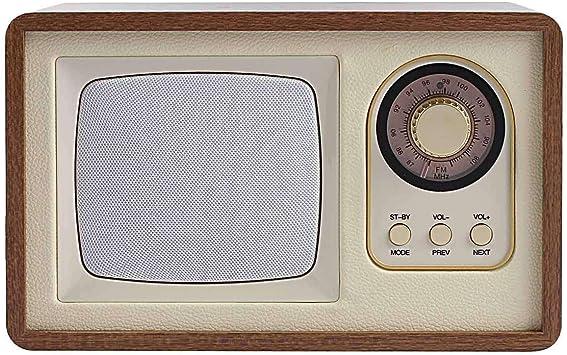 Altavoz Bluetooth portátil con radio, aspecto de madera (radio nostálgica, caja de música portátil, conexión USB): Amazon.es: Hogar