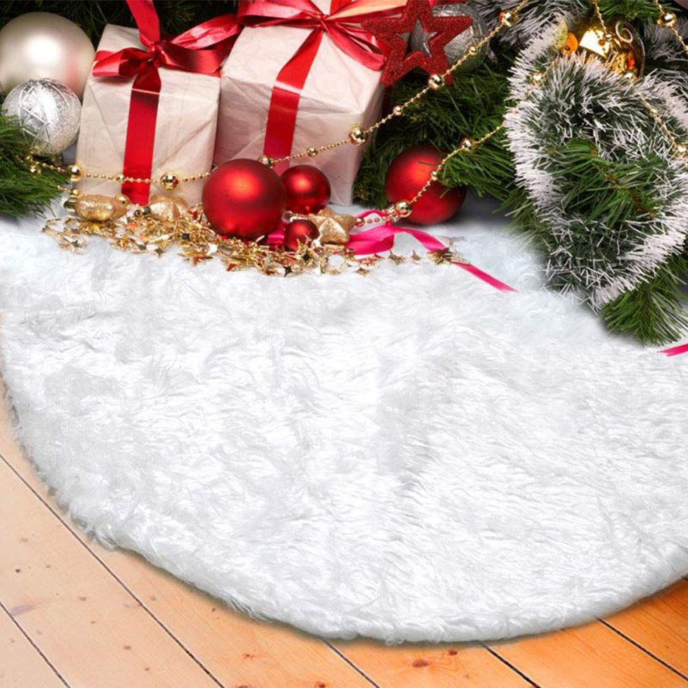 DegGod Christmas Tree Plush Skirts, White Pure Faux Fur Xmas Tree Skirt Mat Christmas Home Party Decorations Ornaments (30.7inches/78cm)