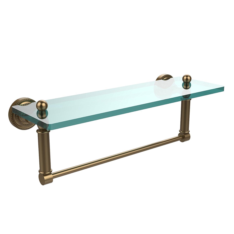 (Brushed Bronze) Allied Brass DT-1TB/16-BBR Glass Shelf with Towel Bar, 41cm x 13cm B004J4KMQU つや消しブロンズ つや消しブロンズ