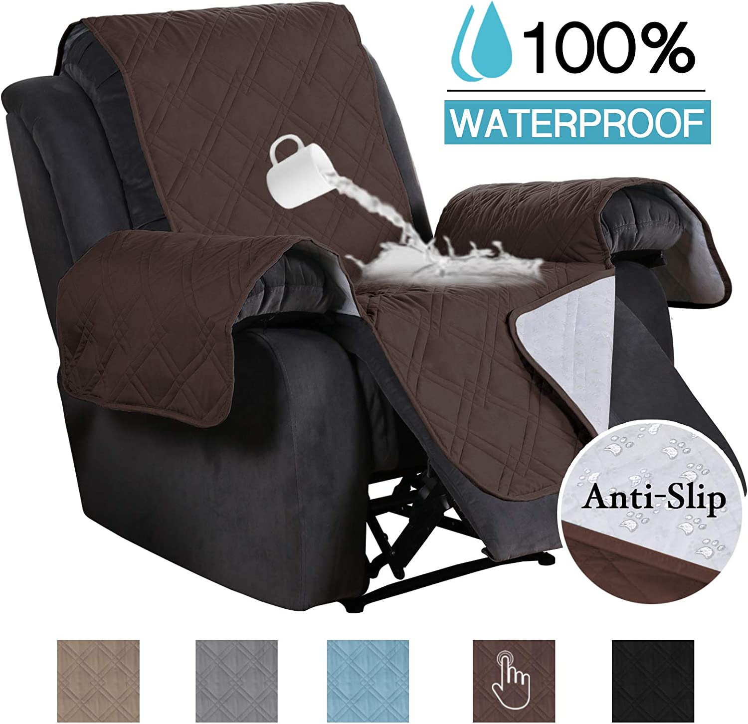 100% Waterproof Non Slip Furniture Covers for Leather Recliner Covers for Large Recliner Seat Width Up to 30 Inch Couch Covers with Non Slip Backing
