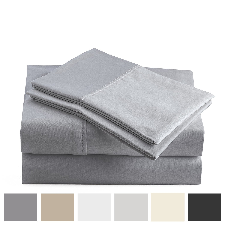Peru Pima 415 Thread Count - 100% Peruvian Pima Cotton - Percale - Bed Sheet Set (California King, Slate)