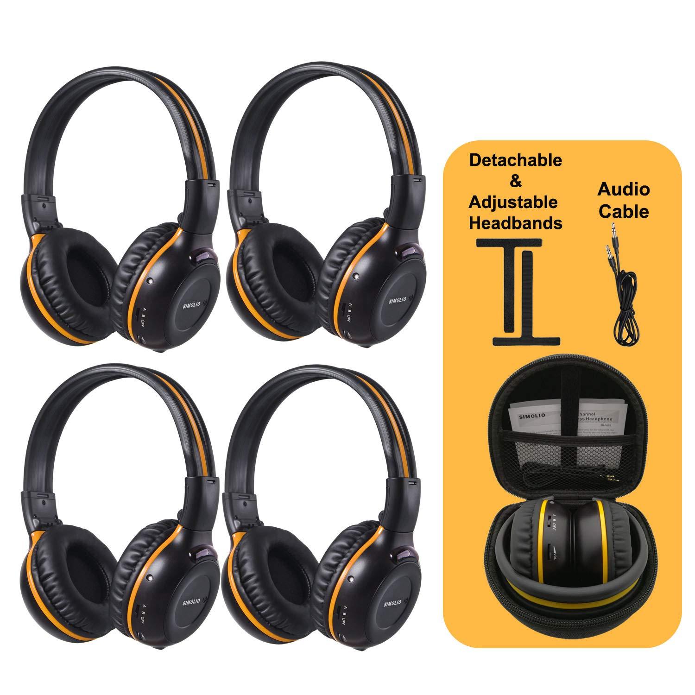 4 Pack of DVD Wireless Headphones, Car Kids Headphones, IR Headphones for Car Entertainment System, Wireless IR Headphones with Dual Channel by SIMOLIO