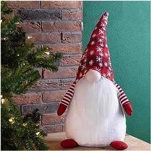 "Glitzhome Christmas Decoration 24"" H Fabric Christmas Gnome Standing Décor Tabletop Gnome Figurines Xmas Home Ornaments"