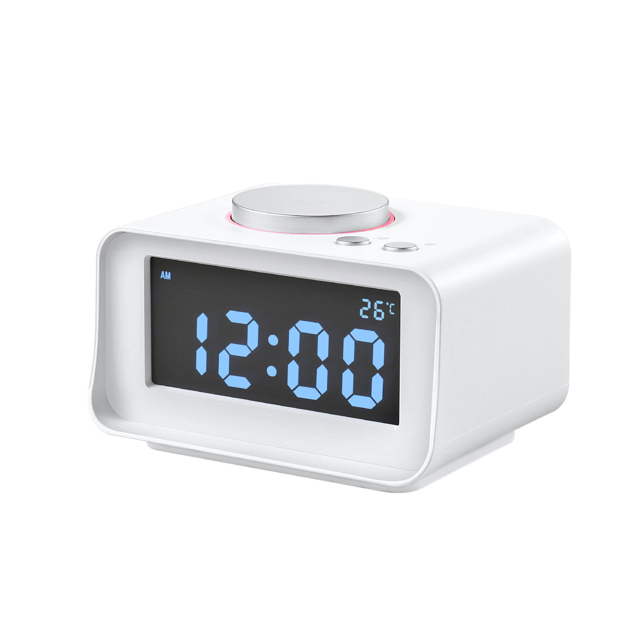 Electronic LED Alarm Clock, Mute Luminated Bedroom Digital Clock With Multi-functions of Temperature, Speaker, USB Phone Charger, FM, Dual-alarm, Dimmable Backlight, AUX Audio for Indoor Home Use