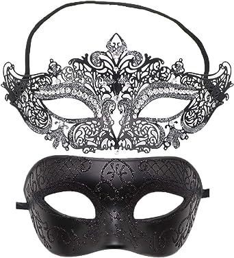 New Men Women Black Carnival Metal and filigree Venetian Masquerade Mask