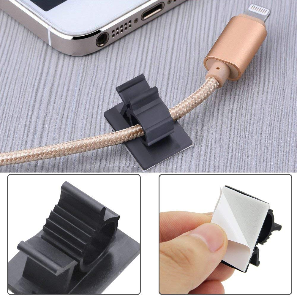 50Pcs Yoogeer Adhesive Nylon Wire Clamps Cable Organizer Desk Wall Computer Electrical Cord Cable Ties Adjustable Cable Clips Plastic Cable Management System for Car//Office//Home