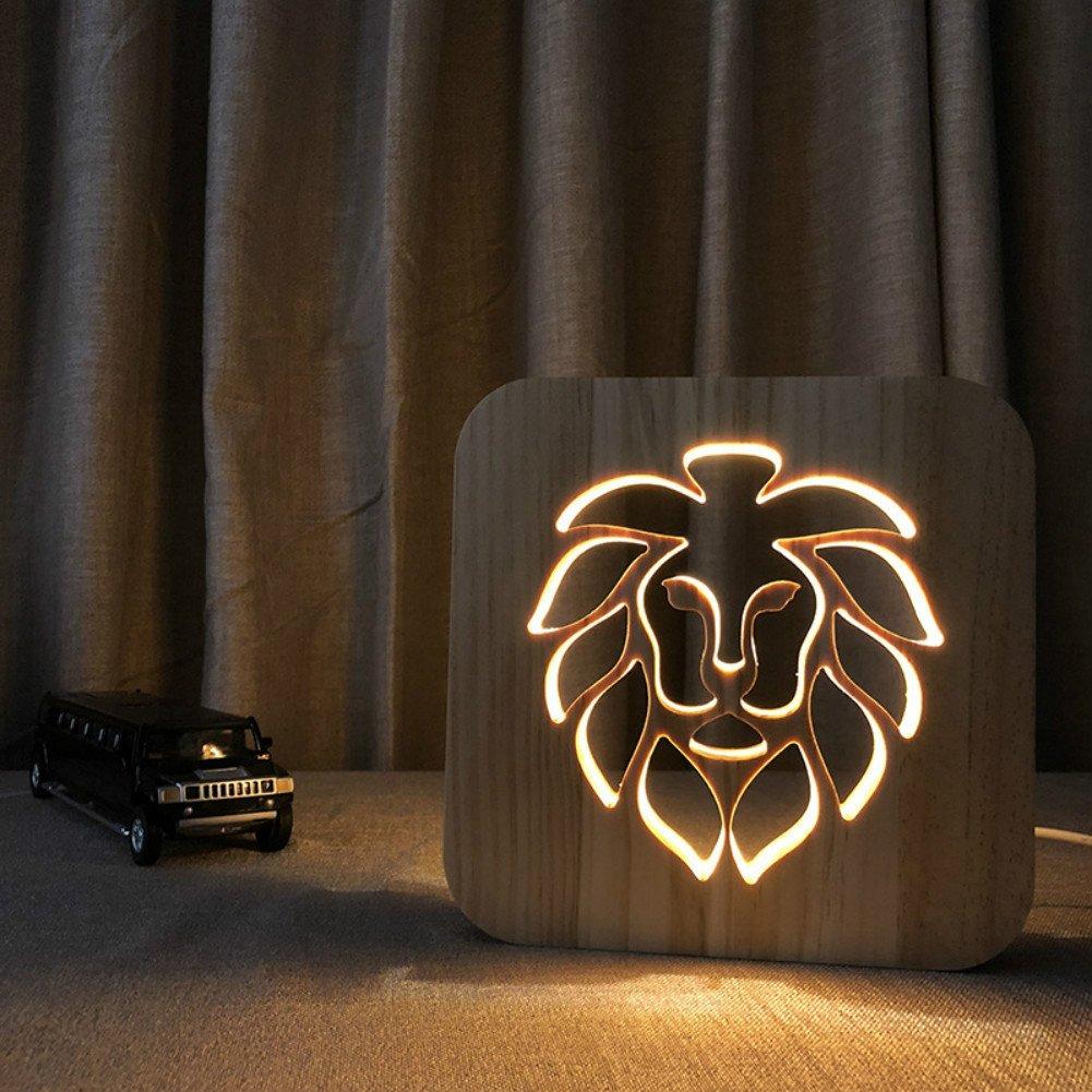 Lion 3D Lamp Cartoon Wooden Nightlight, LED Table Desk lamp USB Power Home Bedroom Decor Lamp, 3D Wood Carving Pattern LED Night Light Warm White