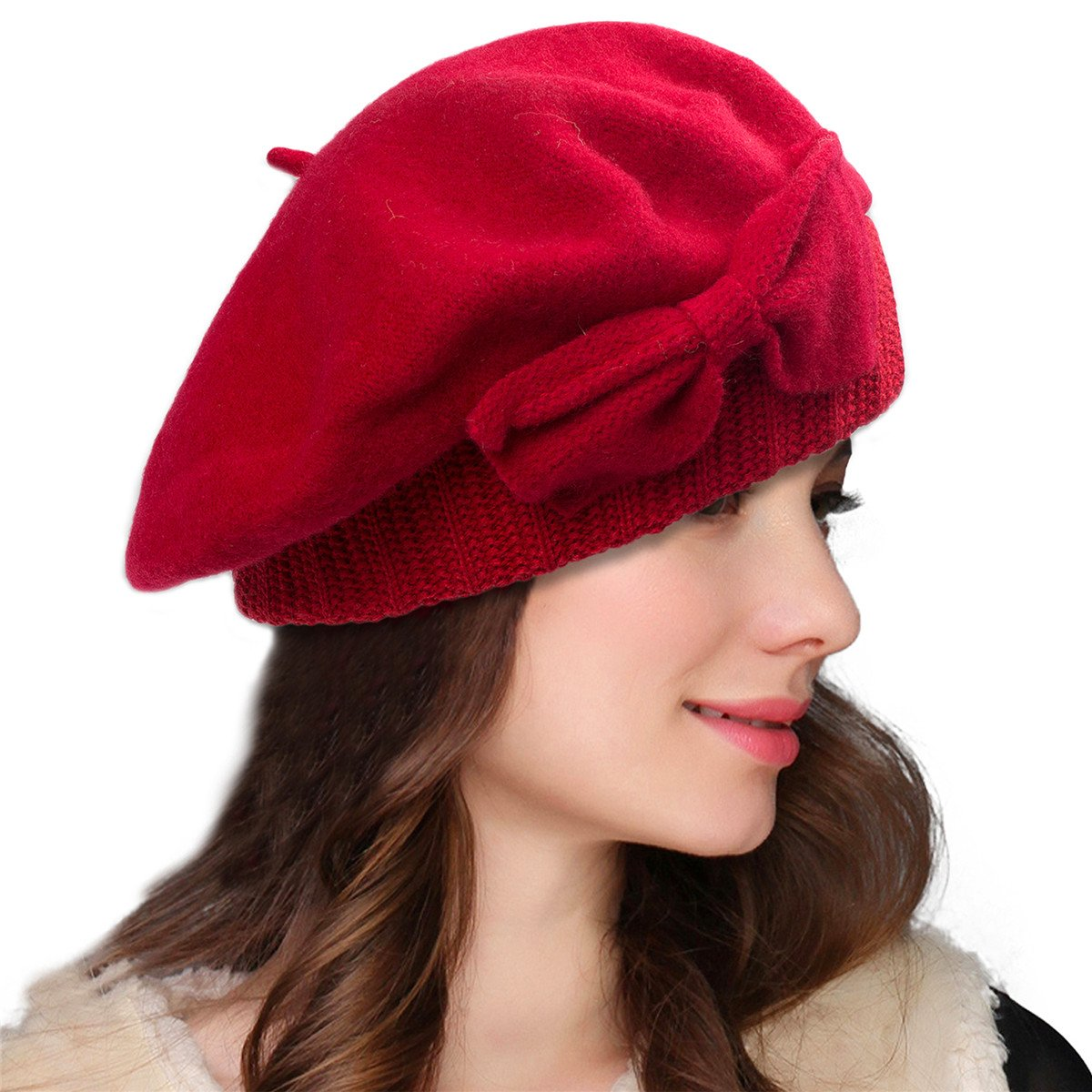 Lawliet Womens 100% Wool Loretta Beret Nipple Beanie Basque artist Cap A481 (Red)