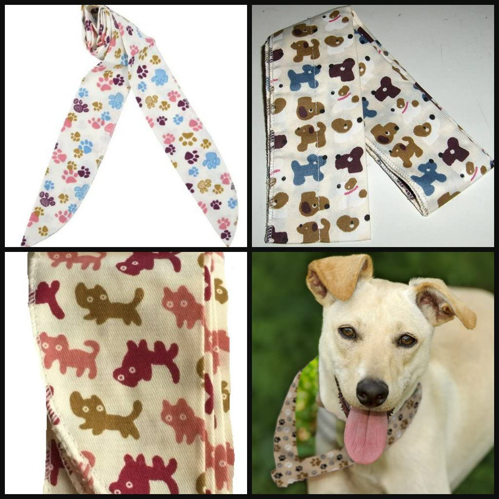 JB JellyBeadZ Brand 3 Pack - Neck Cooling Scarf Wrap, Keep You Cool, Bandana Pet Patterns- Doggies, Kitties, and Paw Prints
