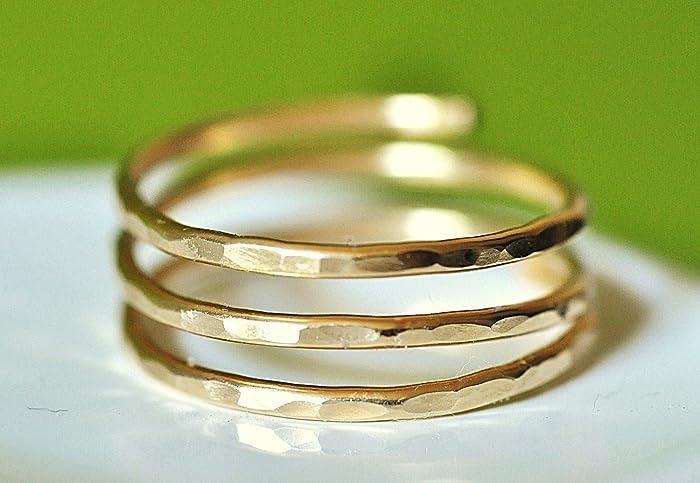 Gold three band thumb ring
