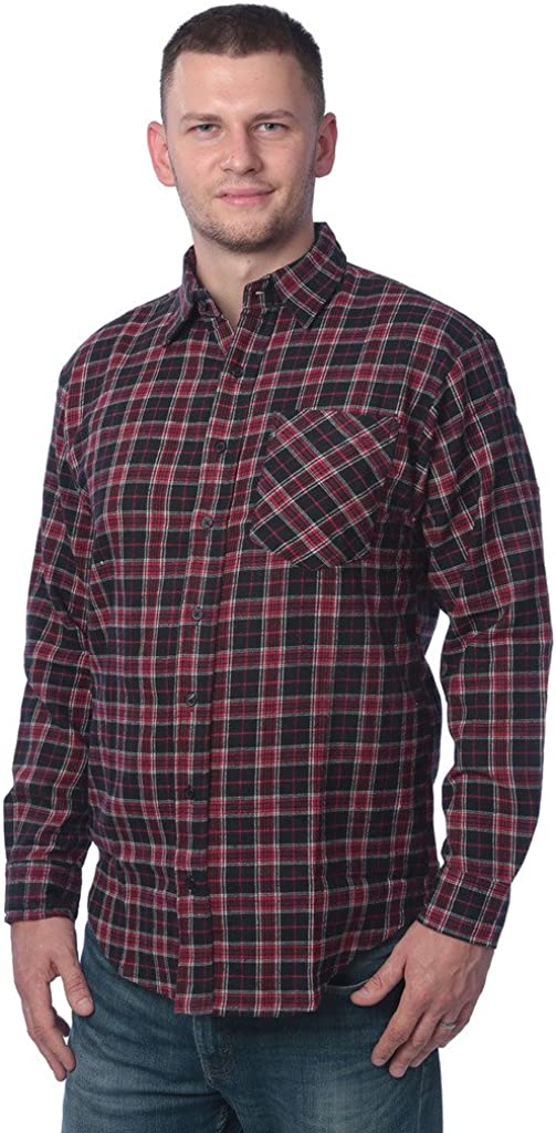 Beverly Rock Mens Flannel Shirt Brushed Cotton Plaid Button Down Shirt