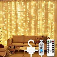 LONENESSL Curtain String Lights,300 LEDs Window Curtain String Light with Remote Control for Christmas Wedding Party…