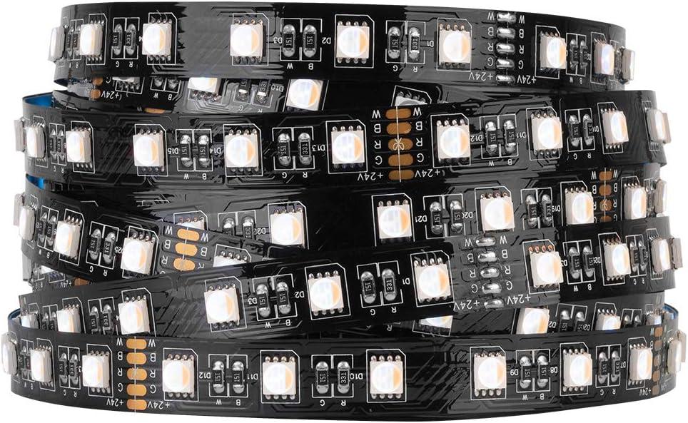 BTF-LIGHTING 5050 RGBW RGB+Warm White(2700K-3000K) 4 Colors in 1 LED 5m 16.4ft 60LEDs/m Multi-Colored LED Tape Lights IP30 Non-Waterproof Black PCB DC24V for Bedroom Kitchen Home Decoration