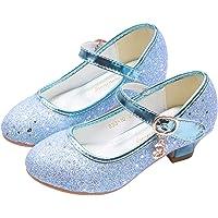 YOSICIL Niña Baile Zapatos de Tacón Elsa Frozen de Princesa Zapatos de Cumpleaño Fiesta,Playa,Vacaciones,Cosplay…