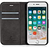 J Jecent iPhone8 ケース iPhone7ケース 手帳型 耐衝撃 サイドマグネット [合皮レザー tpu素材] [軽量 薄型] [財布型 スタンド機能付き] [カード収納 黒] [全面保護 カードホルダー] iphone7/8 手帳型カバー