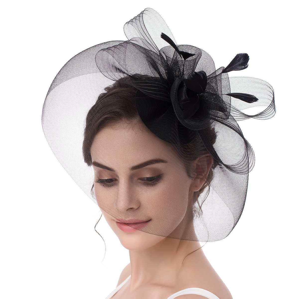 ABaowedding Fascinator Bow Feather Cocktail Party Hair Clip Pillbox Hat (Black)