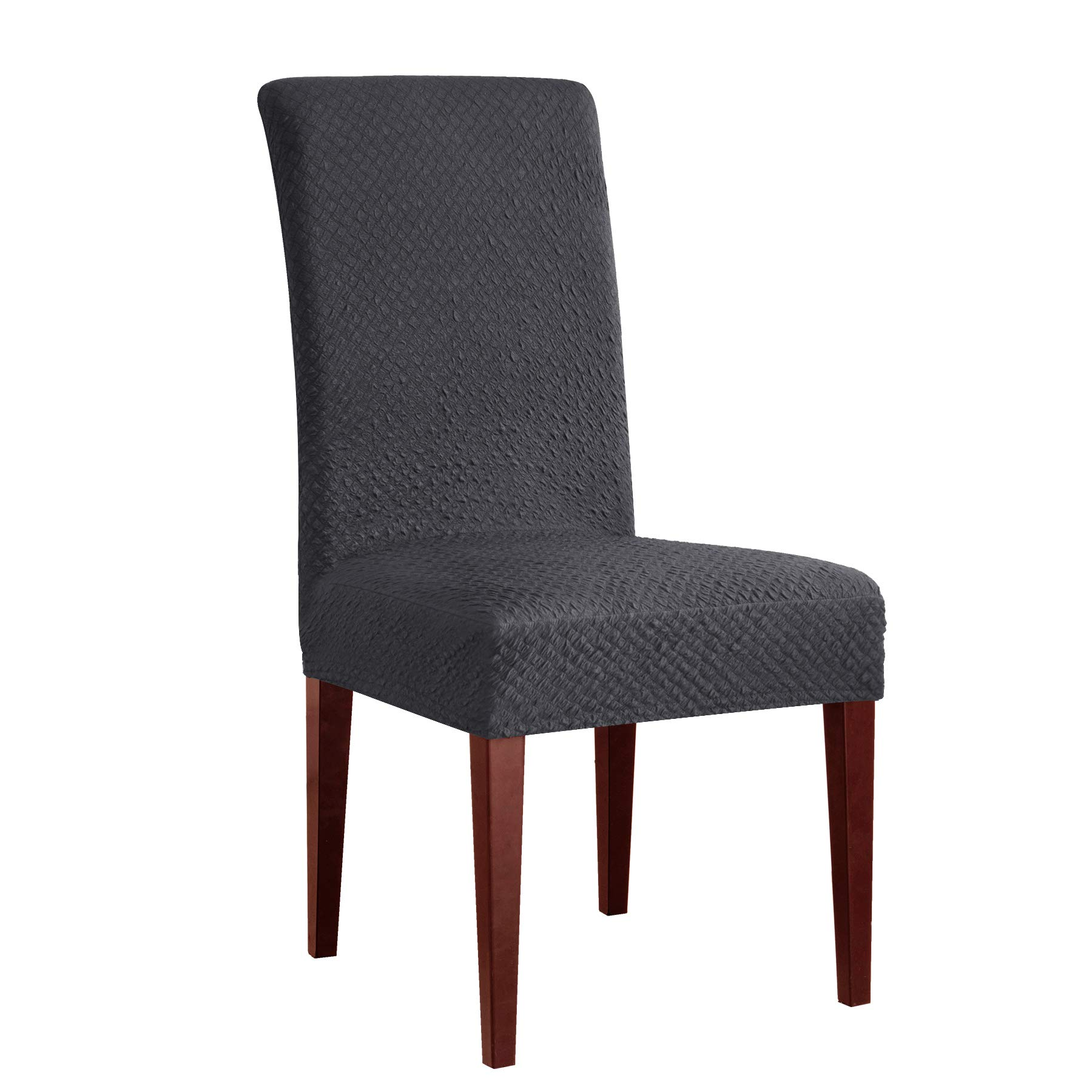 CHUN YI Seersucker Jacquard Polyester Spandex Fabric Stretch Dining Chair Slipcovers Furniture Covers/Protector (2 Pcs, Gray)