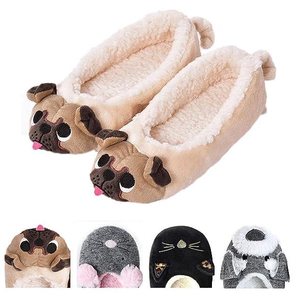 Women's Plush Winter Warm Animal Soft Cute Home Slippers Dog Yellow 5-6 M US