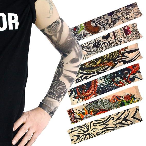 Ishua 20 PCS Tatuaje temporal brazo protector solar mangas falso ...