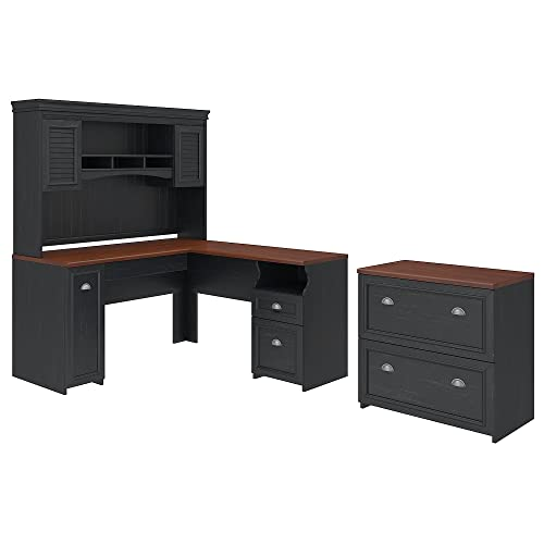 Bush Furniture Fairview L Shaped Desk with Hutch and Lateral File Cabinet in Antique Black