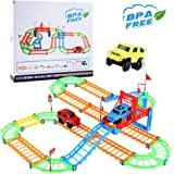 Car Track,Twister Flexible Tracks for Kids DIY with ABS Material Educational Car Race Tracks Set Bonus 3 Electric Colorful Car Toy by WEfun