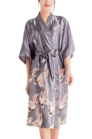 a23fd495a14d2 YAOMEI Peignoir de Bain pour Femme Long Kimono