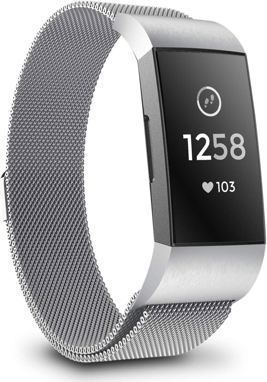 Large, Silver+Black+Rose Gold Stainless Steel Metal Lock Replacement Wristban with Unique Magnet Clasp Valband 3 Pack Replacement Bands Compatible with Fitbit Charge 2