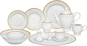 Lorren Home Trends 57-Piece Porcelain Dinnerware Set, Ricamo-GD, Service for 8