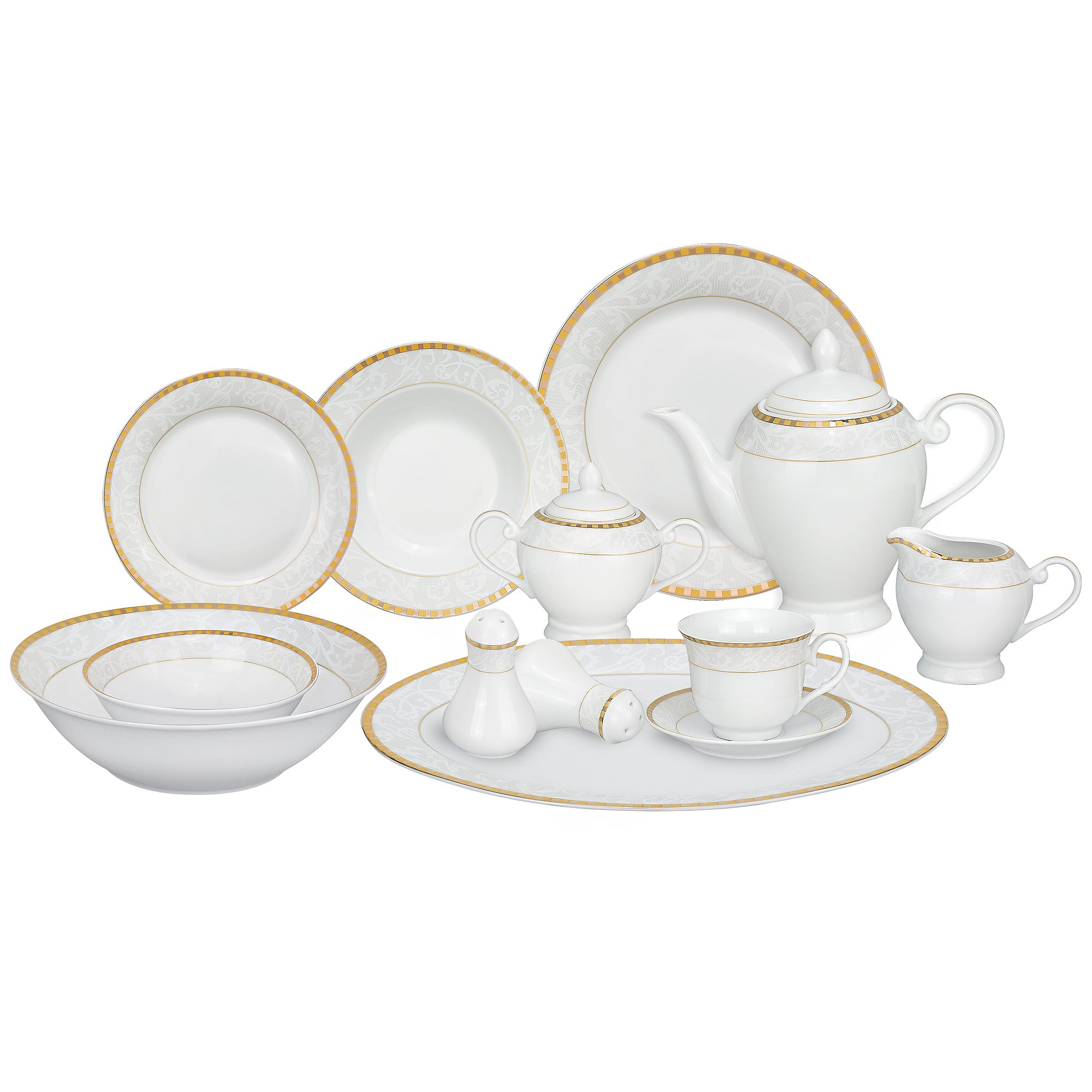 Lorren Home Trends 57-Piece Porcelain Dinnerware Set, Ricamo-GD, Service for 8