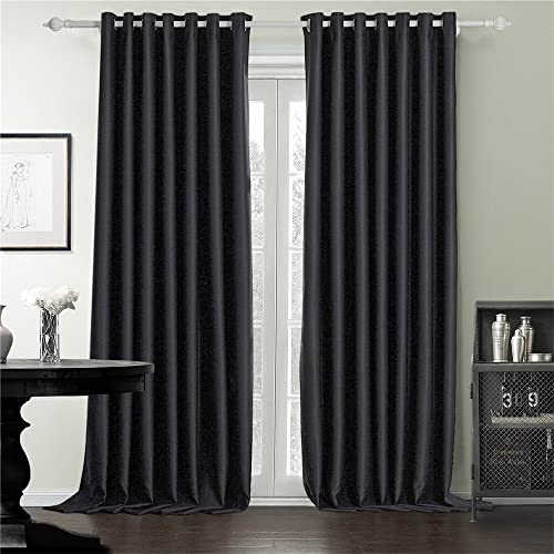IYUEGO Black Queen Casual Blackout Grommet Top Curtain Drap