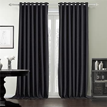 IYUEGO Wide Curtains 120Inch 300Inch For Large Windows Black Queen Casual Grommet Top Blackout