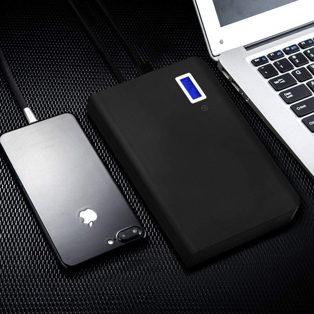 GIARIDE Batería Externa Portátil Carga 24000mAh 85W 220V Power Bank 3 Puertos USB 1 AC Salida argador Paquete LCD y Linterna para Macbook, Laptop, iPhone, ...