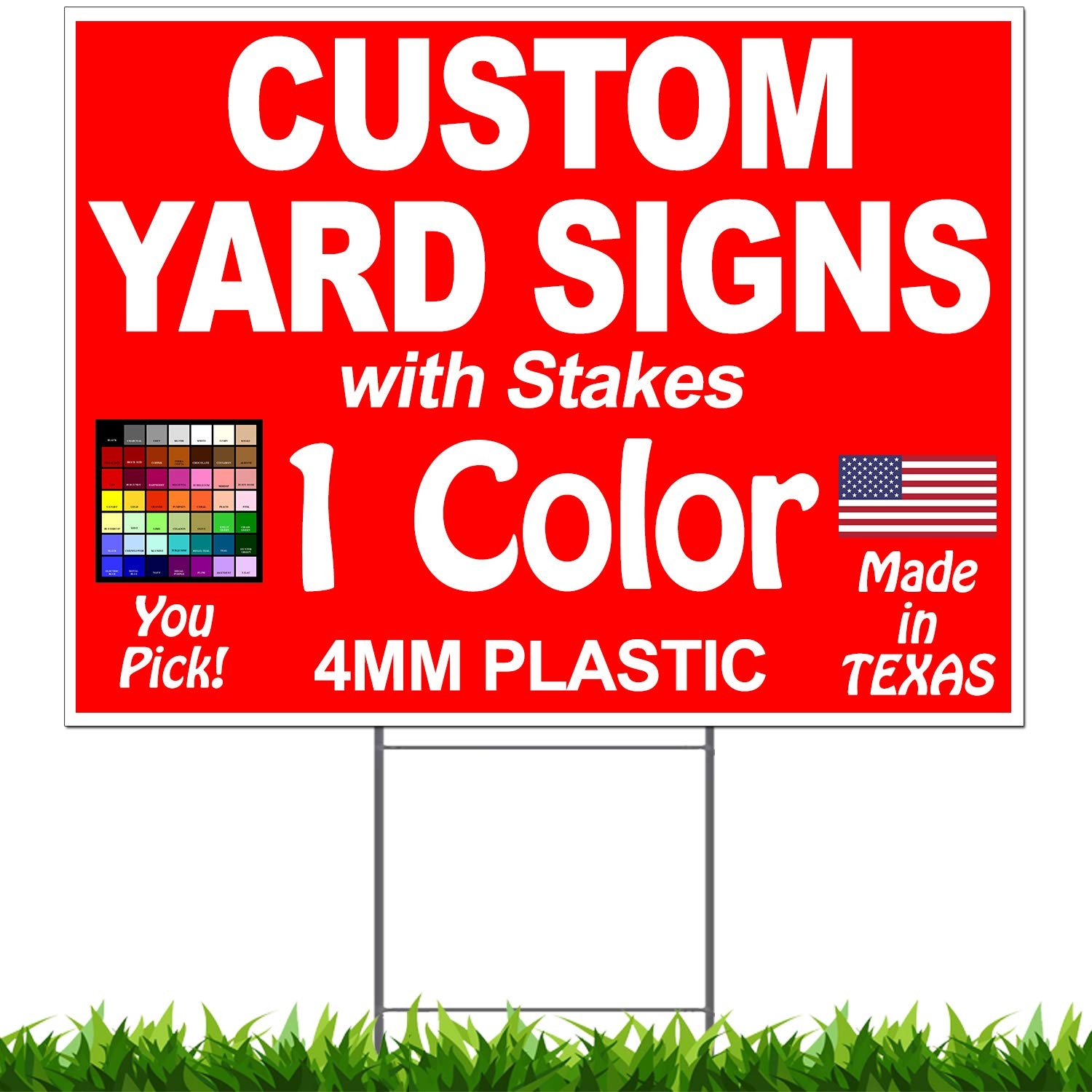 Vibe Ink Pack of 100-18''x24'' Custom Yard Signs - Plastic Lawn Signs - Print Double Sided - Front & Back + 30'' Heavy Duty Stakes Included