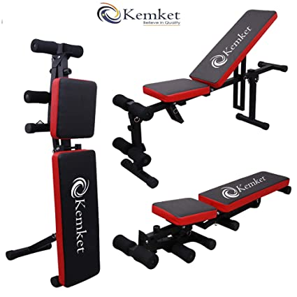 Kemket Adjustable Weight Bench Weight Lifting Gym Home Workout Bench Height Adjustable Utility Bench Flat Incline Decline Abs Bench Press Adjustable