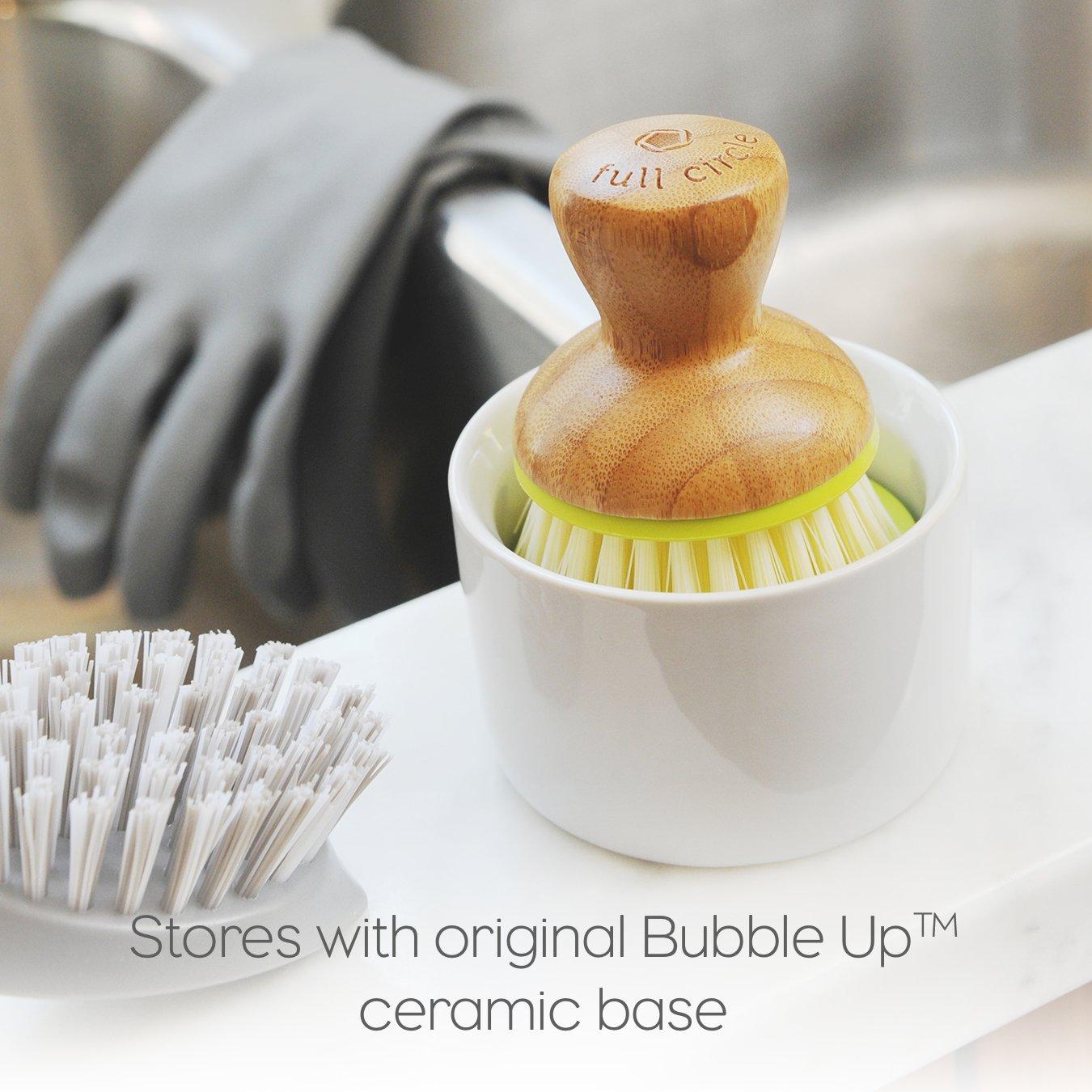 Full Circle Bubble Up Ceramic Soap Dispenser & Dish Brush w Bamboo Handle, Green/White by Full Circle (Image #8)