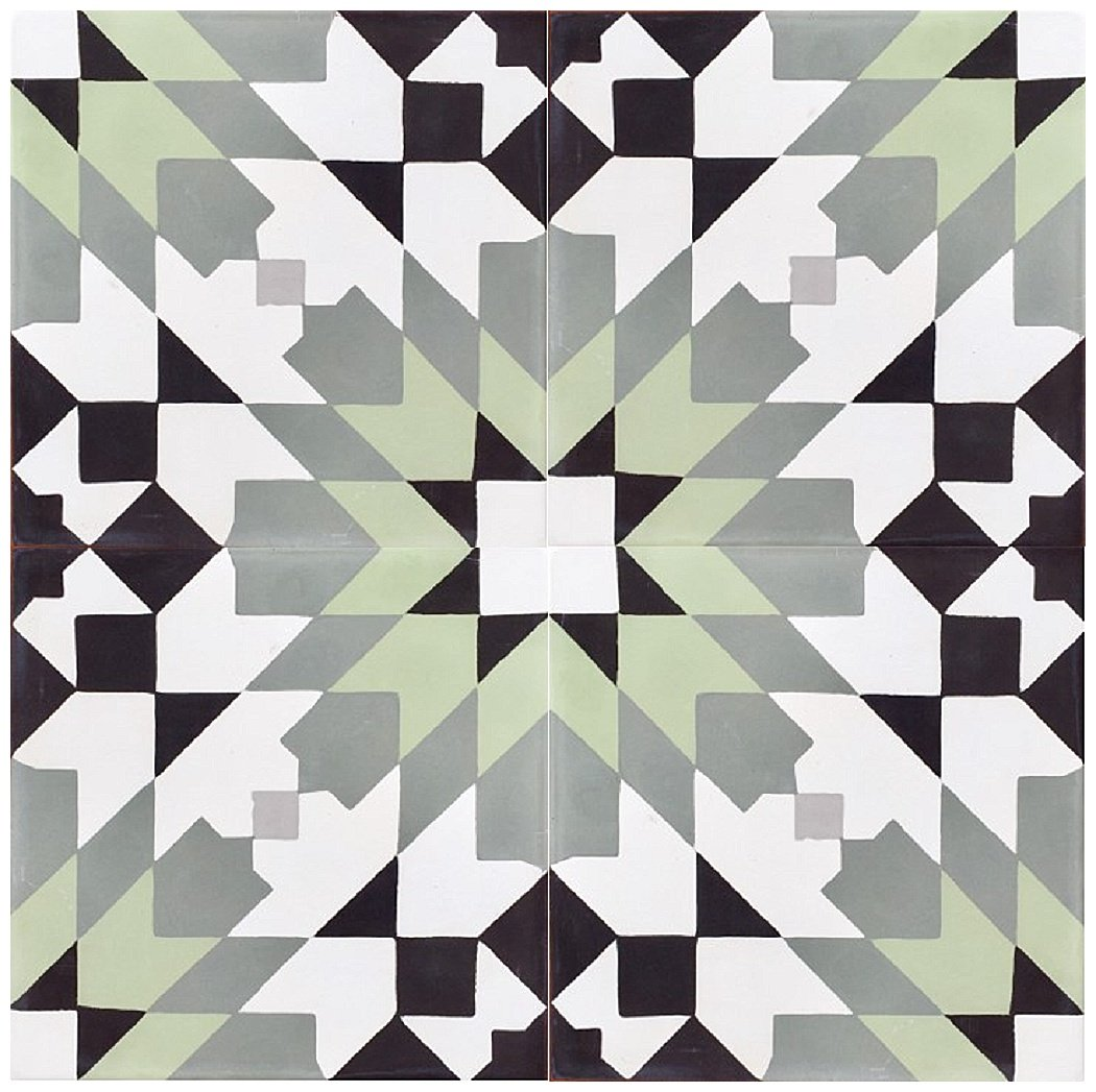 Rustico Tile and Stone RTS21 Casablanca Green Cement Tile Pack of 13, 8''x 8, Black/White