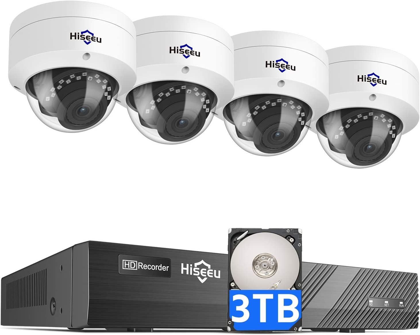 Hiseeu 5MP PoE Security Camera System with 3TB Hard Drive,8 Channel 5MP DVR Security System with 4pcs Dome PoE IP Camera for Home Security,Night Vision,IP66 Waterproof,1-Way Audio,Onvif Support