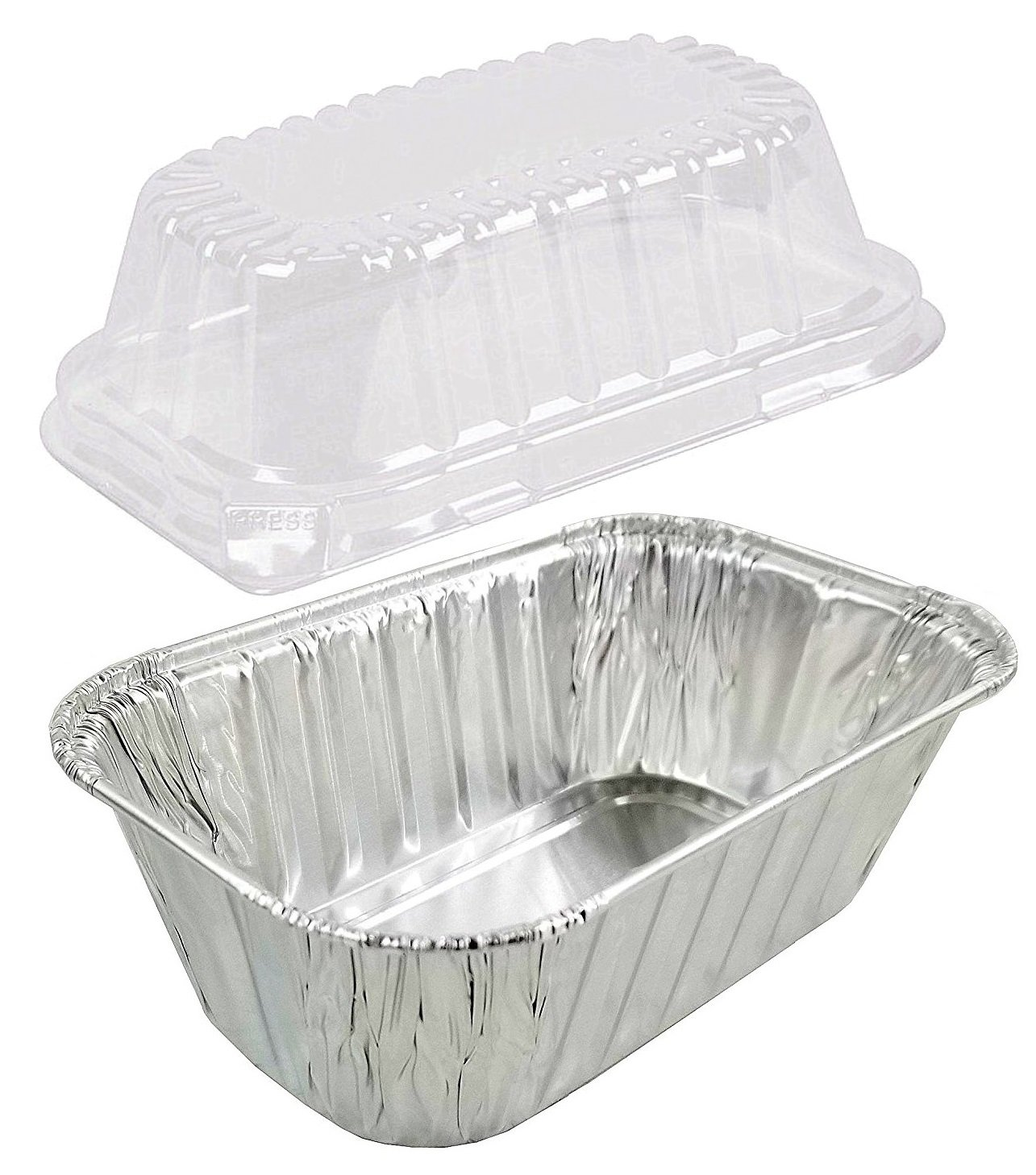 Pactogo Disposable 1 lb. Aluminum Foil Mini Loaf Pans with Clear Dome Lids (Pack of 100 Sets) by PACTOGO (Image #3)