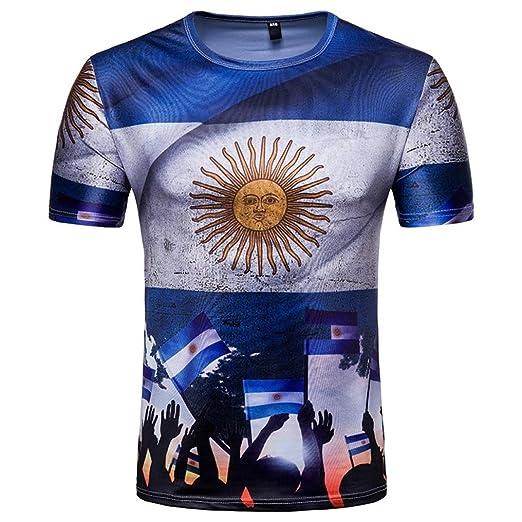 Camisetas, ❤ ⚽️Ba Zha Hei Sun print Casual Camisas de Hombre Moda Camisetas