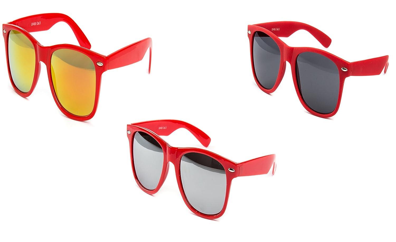 3 er Set Nerd Sonnenbrille Partybrille Festival Sunglass Stil Atzen Brille Rot Dunkelrot Spiegel D387 a0m0sTIq