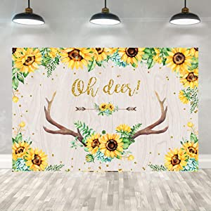 5×3ft Oh Deer Baby Shower Backdrop Sunflower Floral Antler Oh Deer Girls Flower Baby Shower Photography Background Girls 1st Birthday Party Banner Decorations