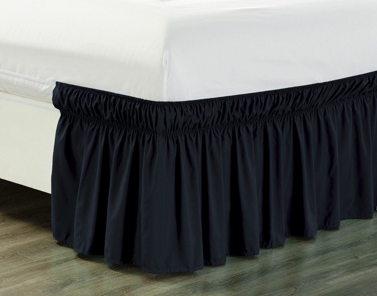 Wrap Around 18'' inch fall BLACK Ruffled Elastic Solid Bed Skirt Fits All QUEEN, KING and CAL KING size bedding High Thread Count Microfiber Dust Ruffle, Silky Soft & Wrinkle Free.