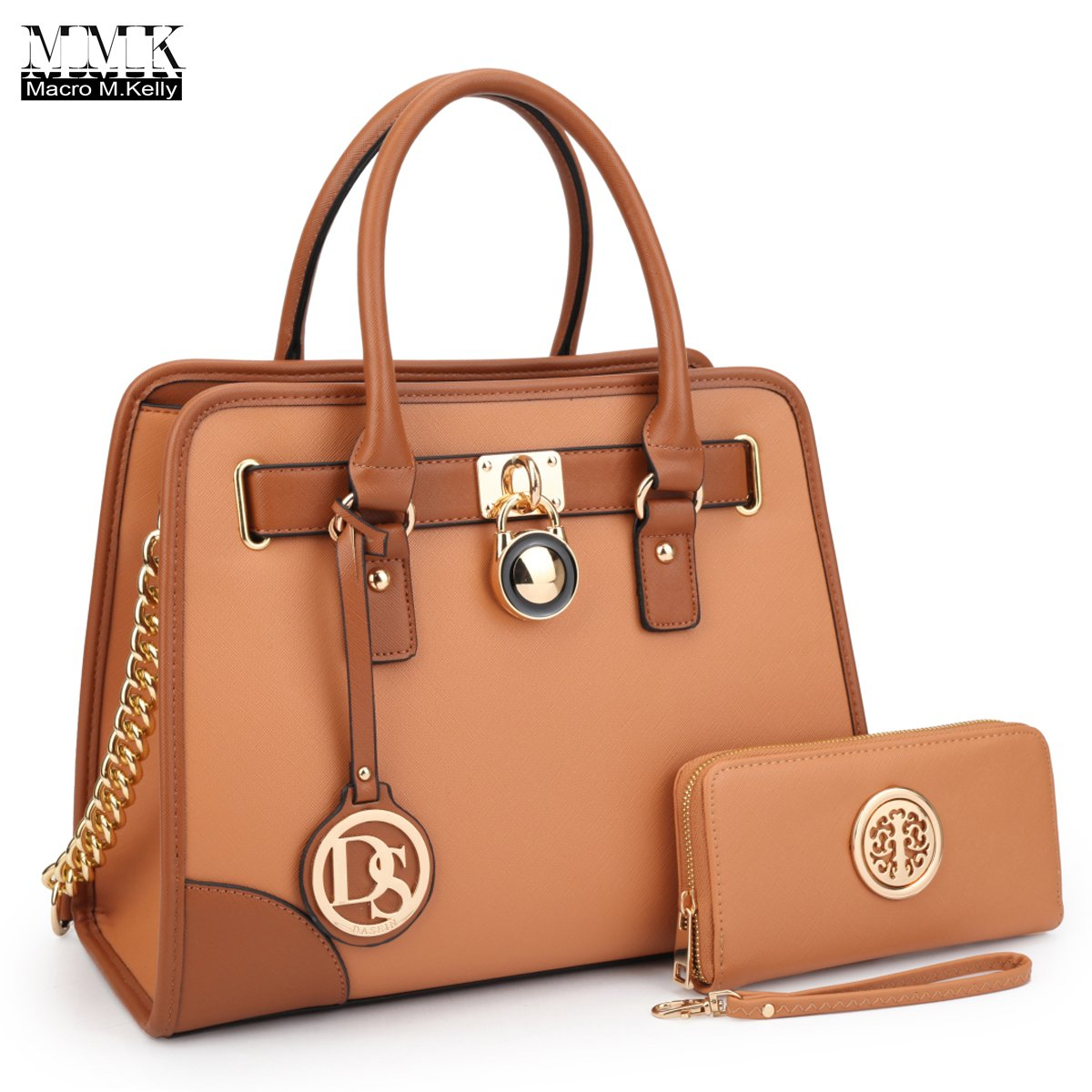 MMK Collection Medium Size Vegan Leather Two-Tone Women Satchel with Chain Shoulder Strap and FREE Matching Wallet~Popular Gift for Lady~Amazing Travel Handbag(6892W) (XL-MA-02-6892-W-BR)