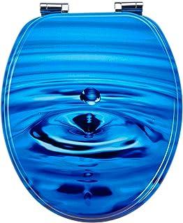 EISL Abattant WC en MDF TROPFEN avec Frein de Chute, EDTR01SC, Bleu