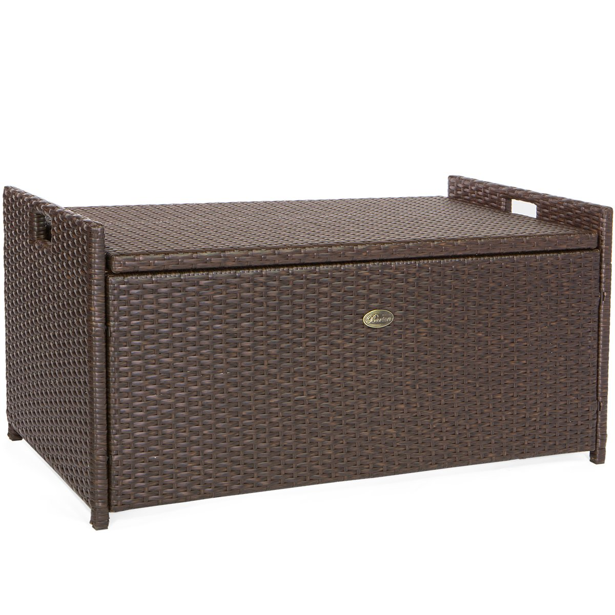 Barton Outdoor Storage Bench Rattan Style Deck Box w/ Cushion, 60-Gallon