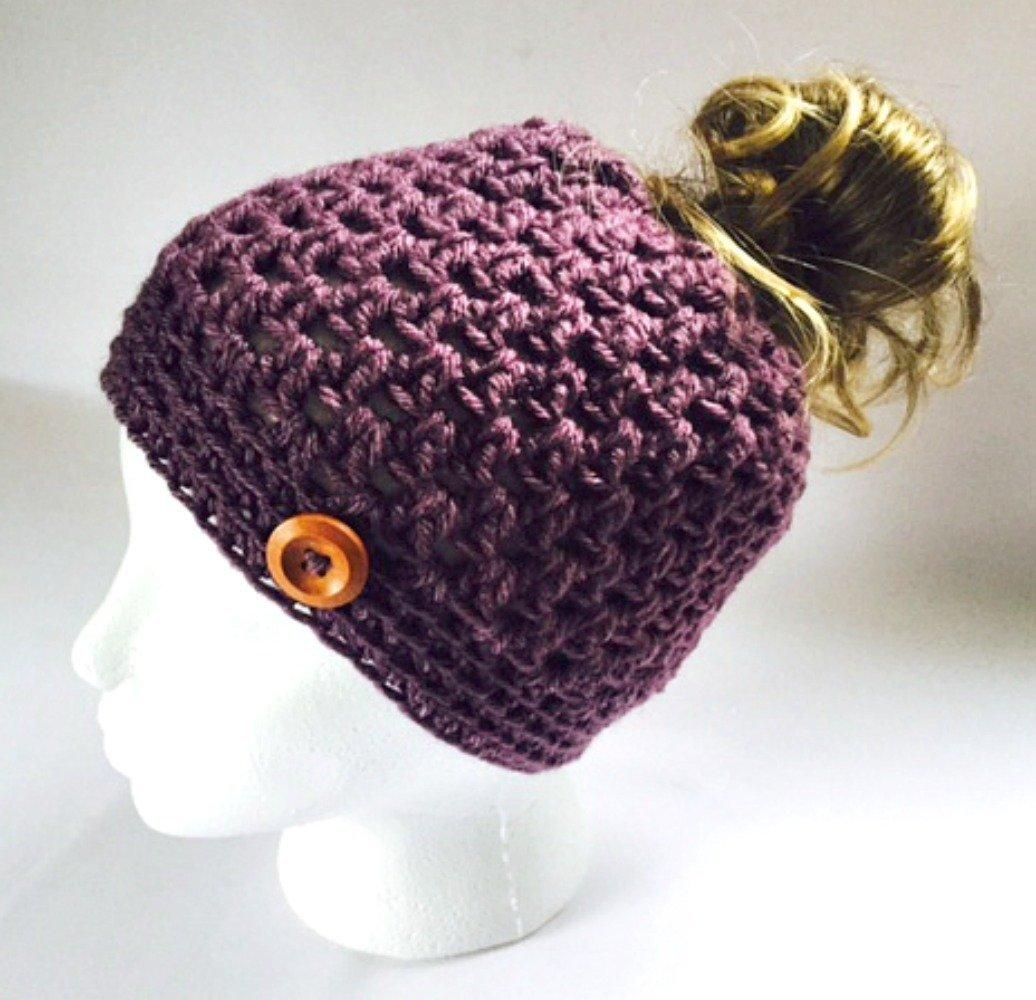 Amazoncom Handmade Messy Bun Hat Purple Beanie Wood Button Pony