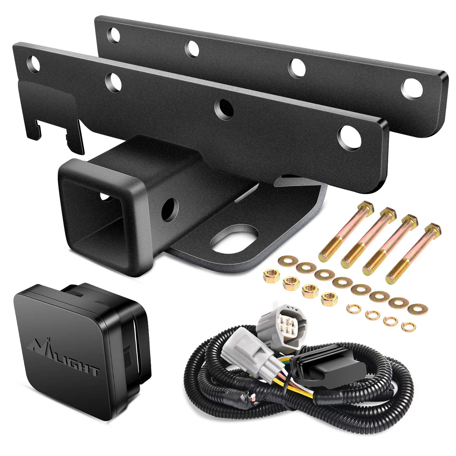 """Nilight - JK-61A 2"""" inch Rear Bumper Tow Trailer Hitch Receiver Kit, Compatible for 2007-2018 Jeep Wrangler JK 4 Door & 2 Door Unlimited, w/4-Pin Wiring Harness (Exclude JL Models)"""