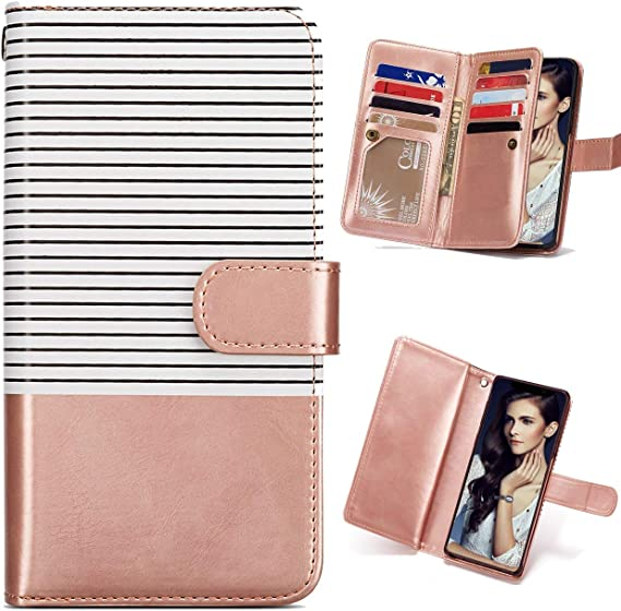 Rose Gold Stripe FLYEE iPhone 11 Wallet Case,Detachable 2in1 case Fit Car Mount Magnet Closure Premium Leather Purse 9 Card Slots Flip Cover with Wrist Strap for Apple iPhone 11 6.1 inch