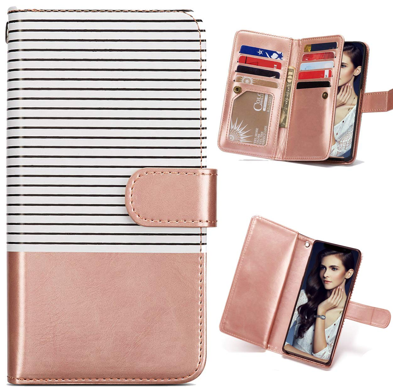 FLYEE iPhone 11 Wallet Case,Detachable 2in1 case Fit Car Mount Magnet Closure Premium Leather Purse 9 Card Slots Flip Cover with Wrist Strap for Apple iPhone 11 6.1 inch [Rose Gold Stripe]